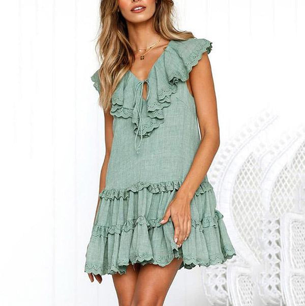 Casual V Neck Solid Color Dress