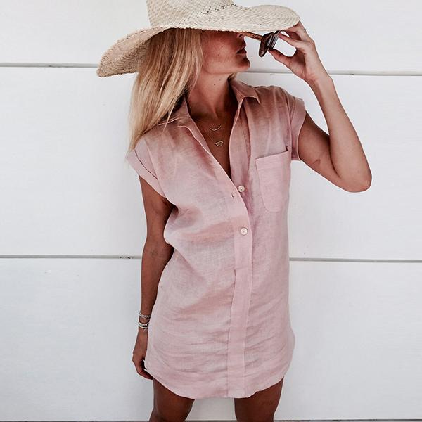 Casual Solid Color Button Shirt Dress