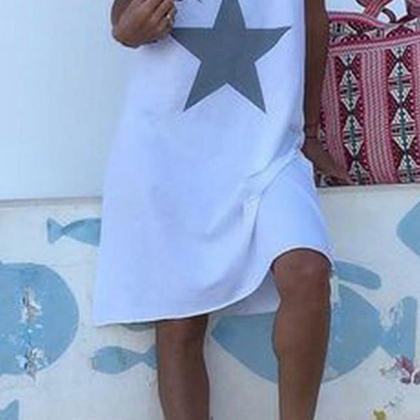 Summer White Plus Size Star Dress