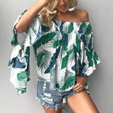 Casual Printed Bare Shoulders Loose Blouse