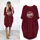 Solid Color Printed Pocket Loose Dress