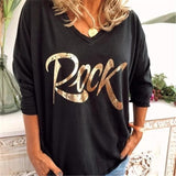 V-Neck Letter Long Sleeve Loose Blouse