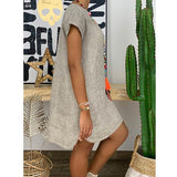 Summer Women Loose Short Sleeve V-neck Mini Dress