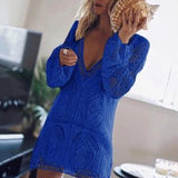Date Casual  V-Neck Hollowed-out Mini Dresses
