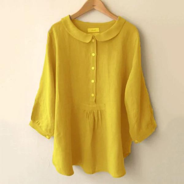 Sweet Solid Color Lapel Neck Blouse