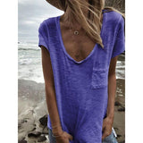Plus Size Pocket Short Sleeve Summer T-Shirt