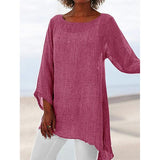 Solid Color Large Size Irregular Round Neck Blouse