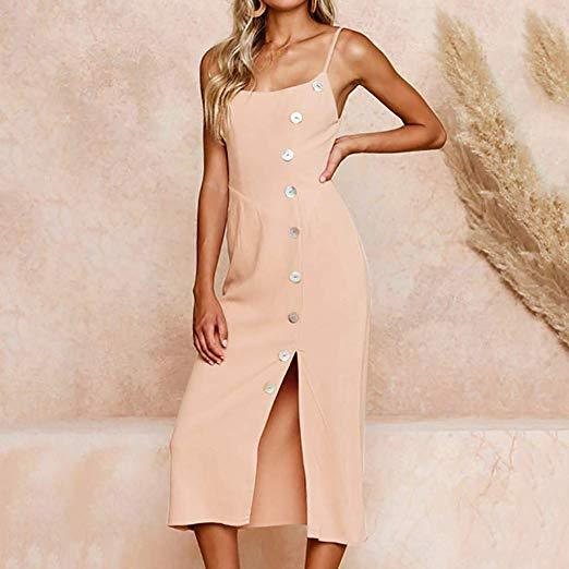 Sexy Sleeveless Front Split Button Dress