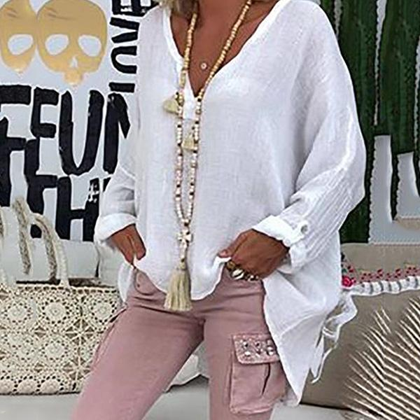 Plus Size V Neck Solid Color Loose Blouse
