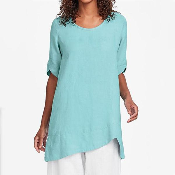 Daily Solid Color 1/2 Sleeve Casual Summer Blouse