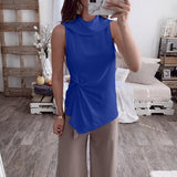 Casual Solid Color Sleeveless Blouse