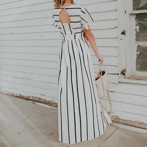Fashion Casual Stripe Irregular Dress