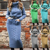 Fashion Long-sleeved Turtleneck Sweater Dress