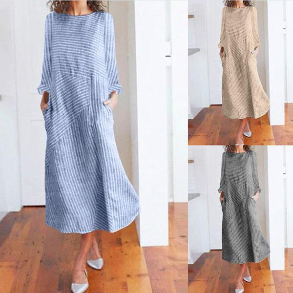 Long Sleeve Striped Fall Dresses