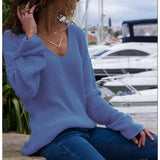 Casual V Neck Long Sleeve Loose Blouse