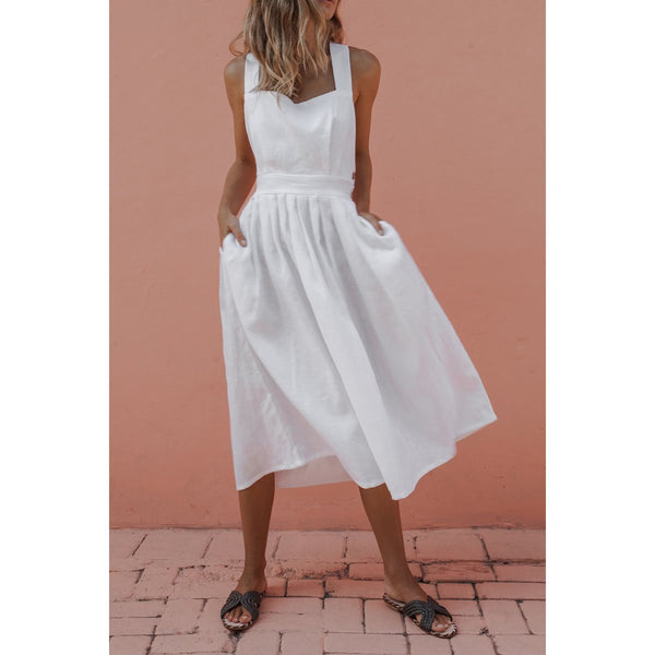 Summer Sexy Strap Button Pleated Dress