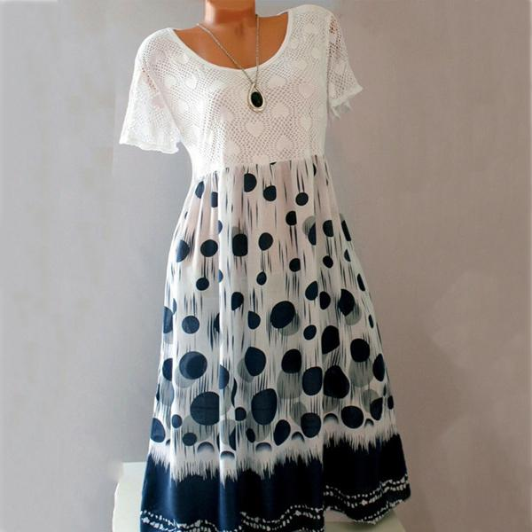 Casual Round Neck Patchwork Polka Dot Shift Dress