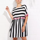 Casual Daily Stripe Tassel Dress
