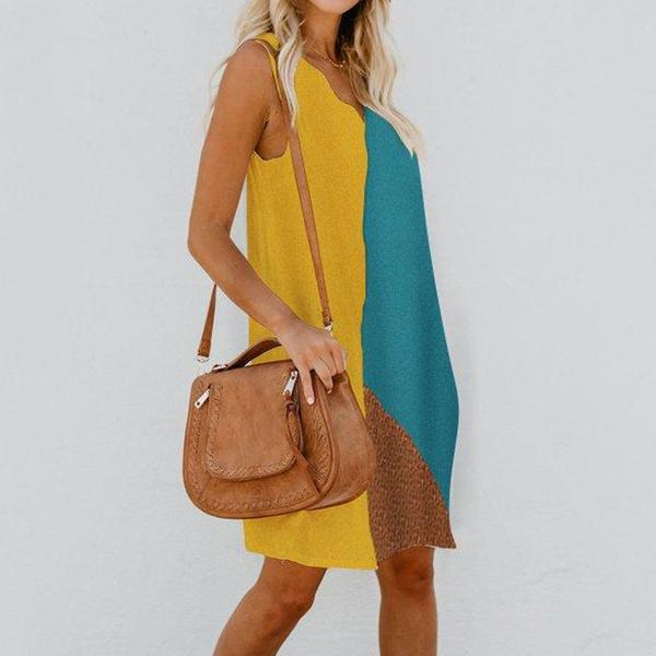 Casual Stitching Color Sleeveless Dress