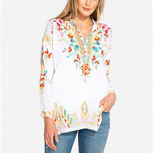 Casual V Neck Long Sleeve Fall Blouse