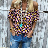 Casual Polka Dot Off-The-Shoulder Blouse