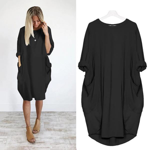 Plus Size Solid Color Loose Dress
