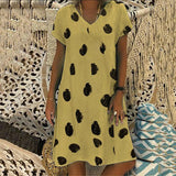 Loose Casual Printed V Neck Dresses