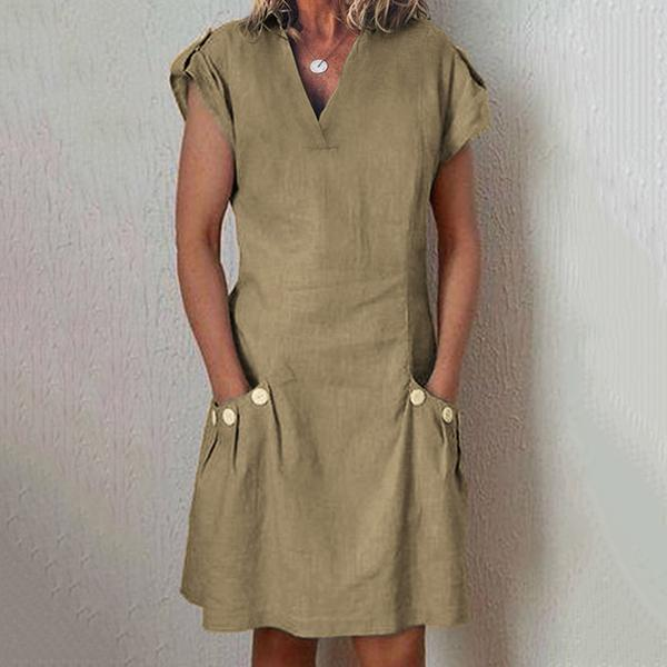 V Neck Solid Color Pocket Dress