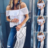 Women Off-Shoulder Hollowed-out Tops