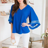 Casual Solid Color Loose Sleeve Blouse