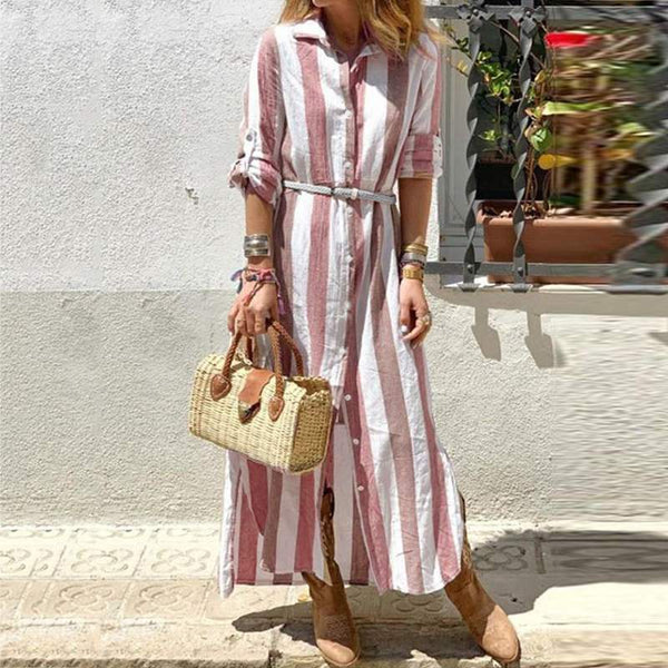 Striped Lapel Long Sleeve Maxi Dress