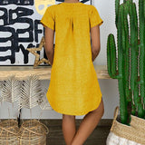 Daily V Neck Solid Color Dress