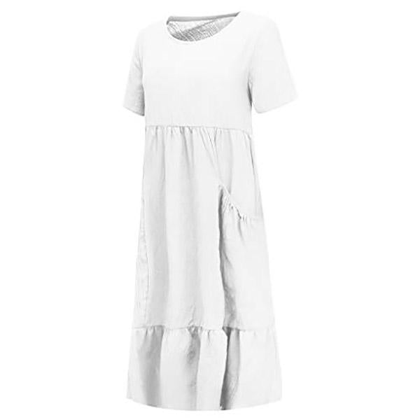 Casual Plus Size Loose Dress Ladies Short Sleeve Beach Dress
