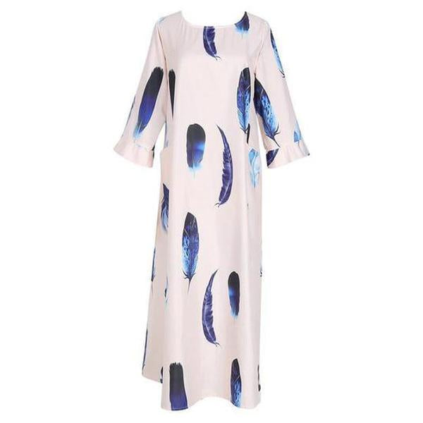 Bohemian Striped Bell Sleeve Floral Print Loose Maxi Dress
