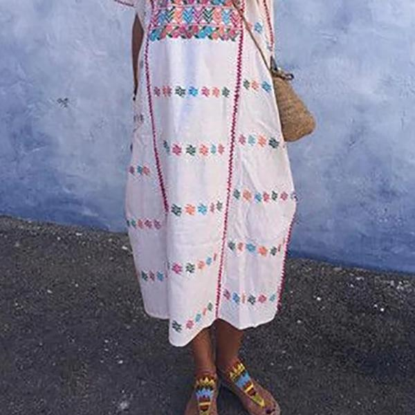 Casual Short Sleeve Printed Summer Maxi Dresses
