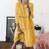 Solid Color Hollow Crew Neck Dress