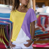 Stitching Color Round Neck Blouse