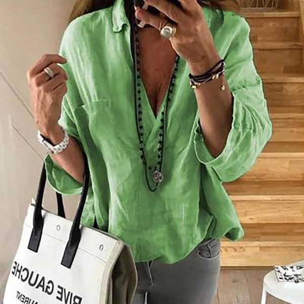 Women 3/4 Sleeve Solid Color Loose Blouses