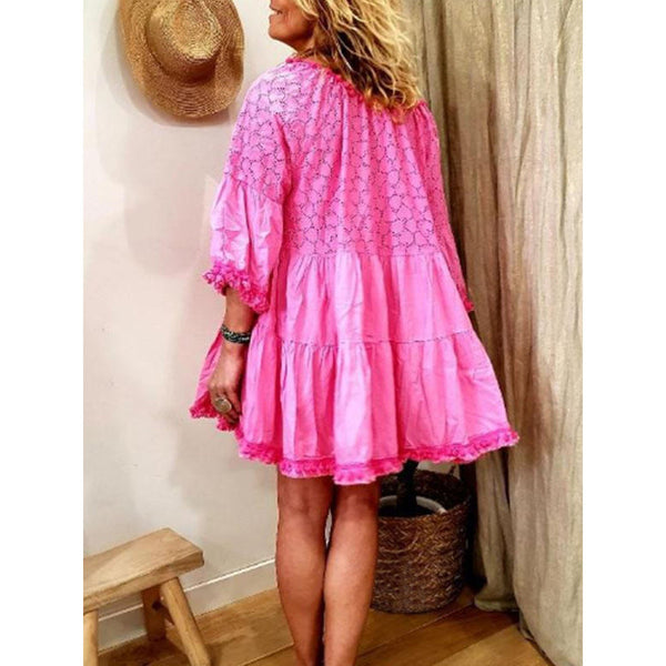 Women Cotton-Blend Casual Half Sleeve Sweetheart Dress