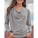 Casual Round Neck Solid Color Blouses