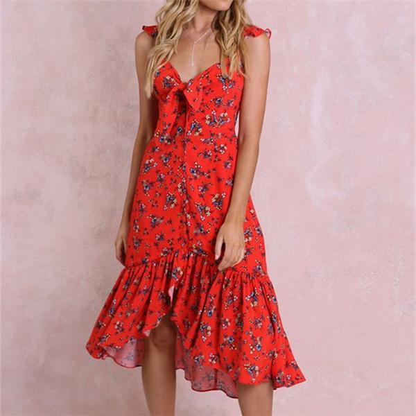 Vacation V Neck Printed Irregular Dress