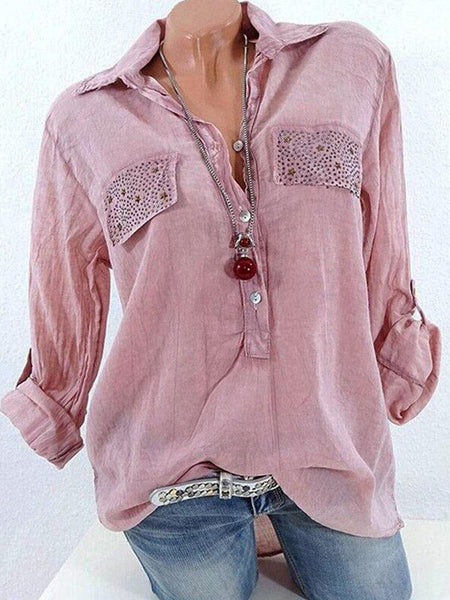 Casual Lapel Long Sleeve Sequins Decorated Women Shirts