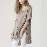 Printed Loose Irregular Blouse