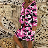 Casual Camouflage Print V-neck Dresses
