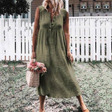 Casual Button Solid Color Sleeveless Dress
