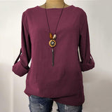 Simple Style Solid Color Loose Blouse