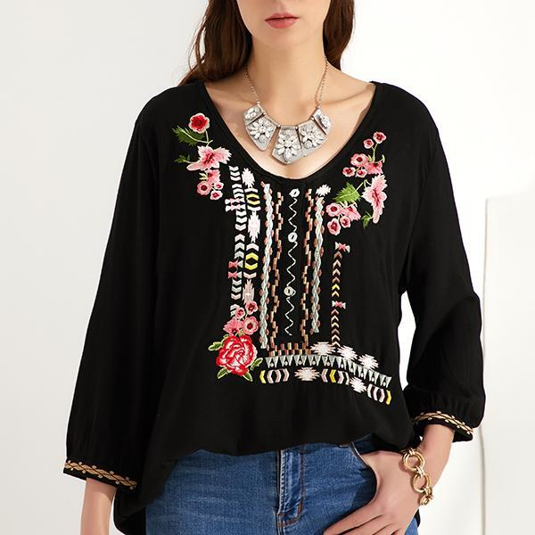 Bohemian Floral Casual V-Neckline 3/4 Sleeves Blouses