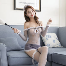 Load image into Gallery viewer, 气质灰色渔网女仆套装