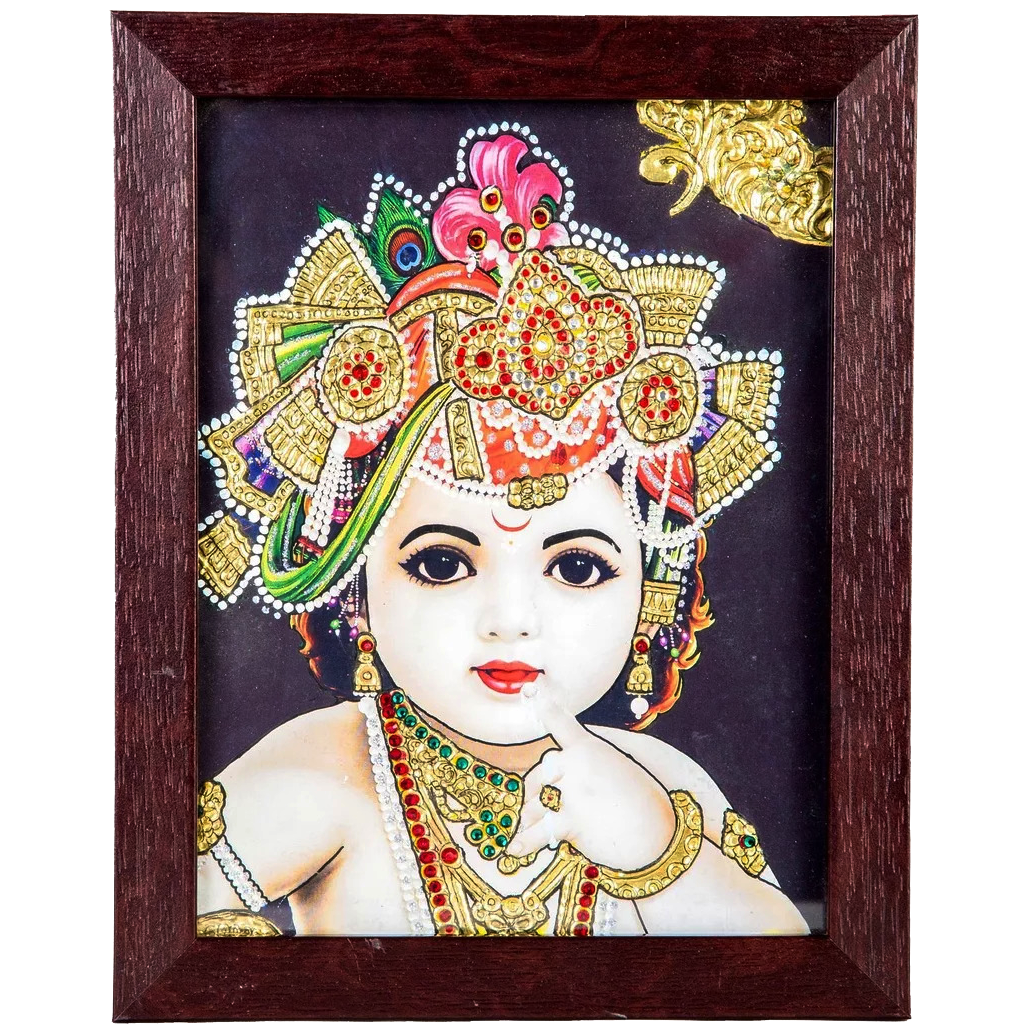 "Baby Krishna Indian Traditional Tamil Nadu Culture Tanjore Acrylic Base Painting - 20x15cms (8""x6"")"