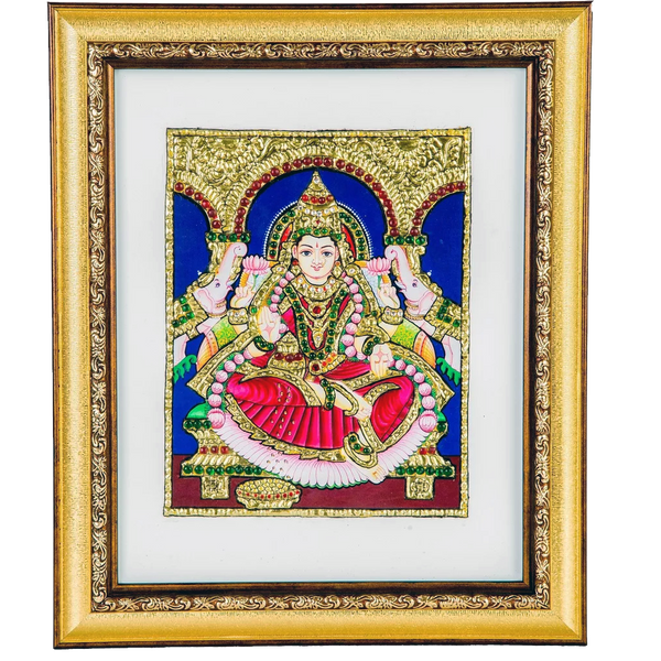 "Gajalakshmi Indian Traditional Tamil Nadu Culture Tanjore Acrylic Base Painting - 20x25cms (8""x10"")"